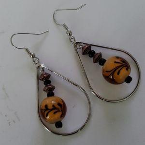 NEW Dangle Earrings with Orange/Tan Beads